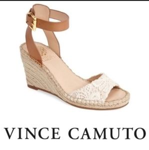 Vince Camuto Tesa Wedge Sandals Eyelet Lace